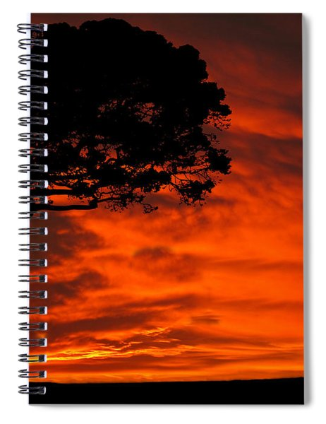 Wolf Calling For Mate Sunset Silhouette Series Spiral Notebook
