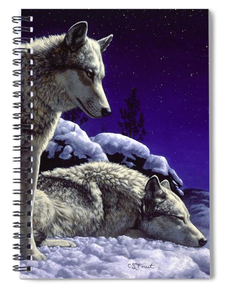 Wolf Painting - Night Watch Spiral Notebook