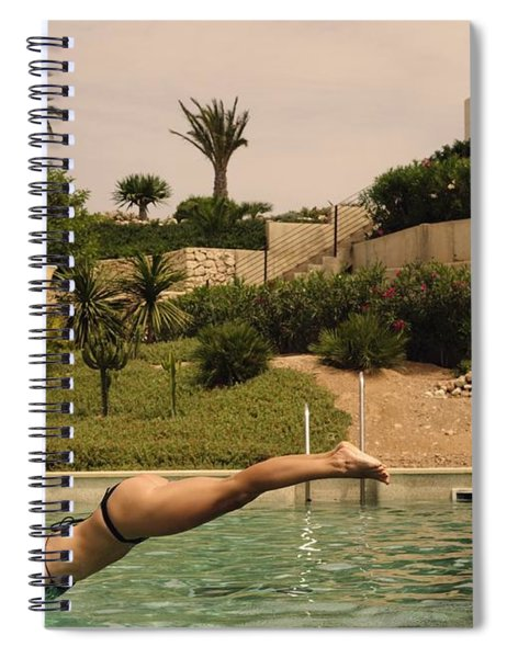 Woman Diving Into Swimming Pool Spiral Notebook