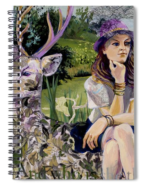 Woman In Hat Dreams With Stag Spiral Notebook