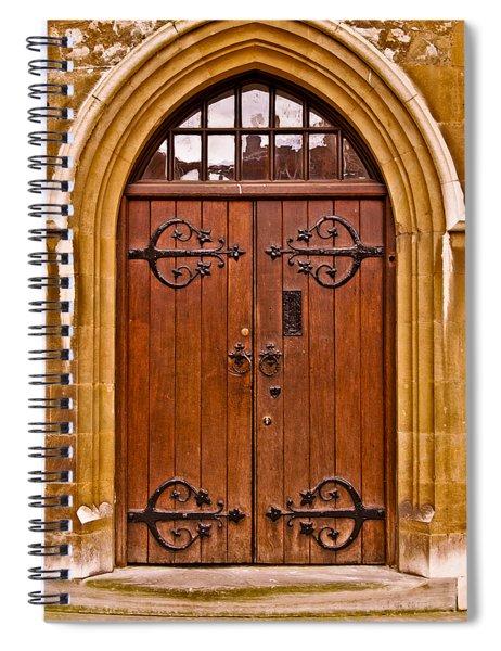 Wooden Door At Tower Hill Spiral Notebook