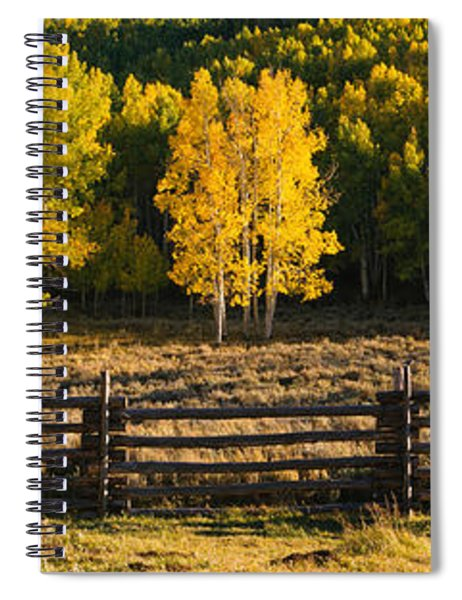 Wooden Fence And Aspen Trees Spiral Notebook