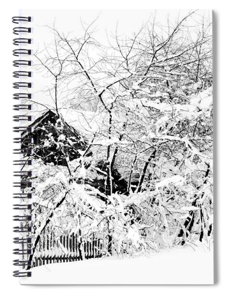 Wooden House After Heavy Snowfall. Russia Spiral Notebook