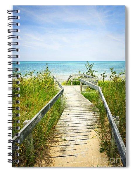 Wooden Walkway Over Dunes At Beach Spiral Notebook