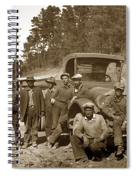 Workers On Highway One Monterey Carmel Hill California 1929 Spiral Notebook