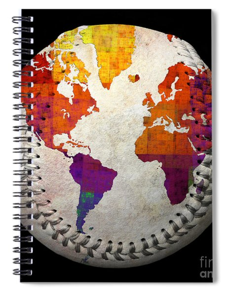 World Map - Rainbow Bliss Baseball Square Spiral Notebook