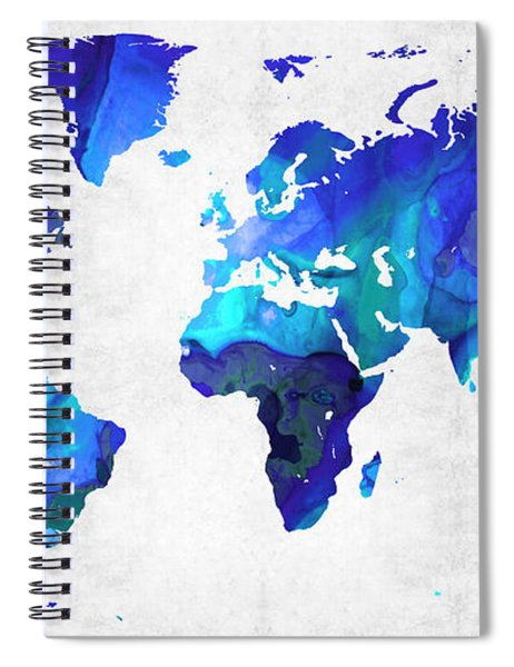 World Map 17 - Blue Art By Sharon Cummings Spiral Notebook
