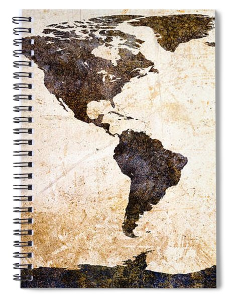 World Map Abstract Spiral Notebook