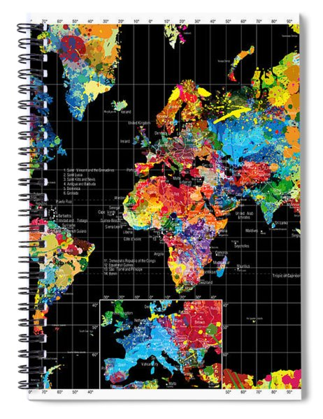 Abstract World Map Black Spiral Notebook