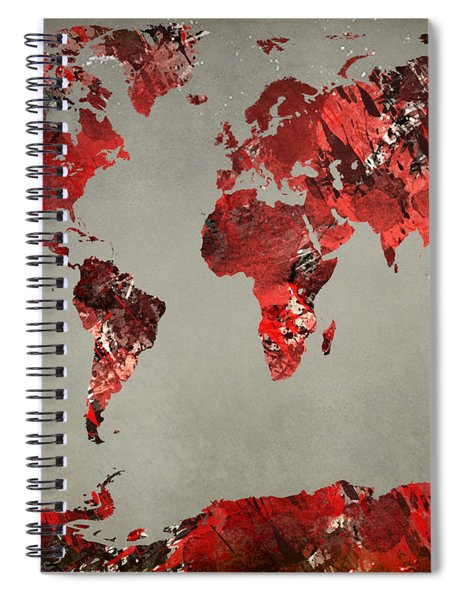 World Map - Watercolor Red-black-gray Spiral Notebook