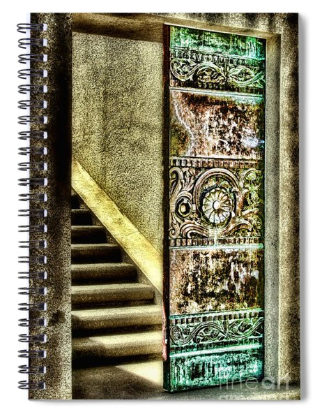 Wrigley's Tower Bronze Doors By Diana Sainz Spiral Notebook