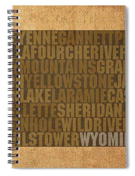 Wyoming Word Art State Map On Canvas Spiral Notebook by Design Turnpike