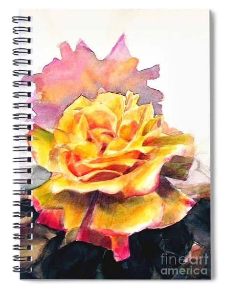 Yellow Rose Fringed In Red Spiral Notebook