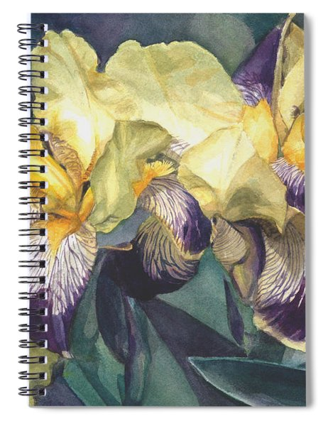 Watercolor Of A Tall Bearded Iris Painted In Yellow With Purple Veins Spiral Notebook