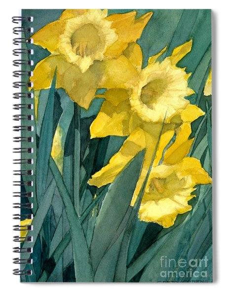 Watercolor Painting Of Blooming Yellow Daffodils Spiral Notebook