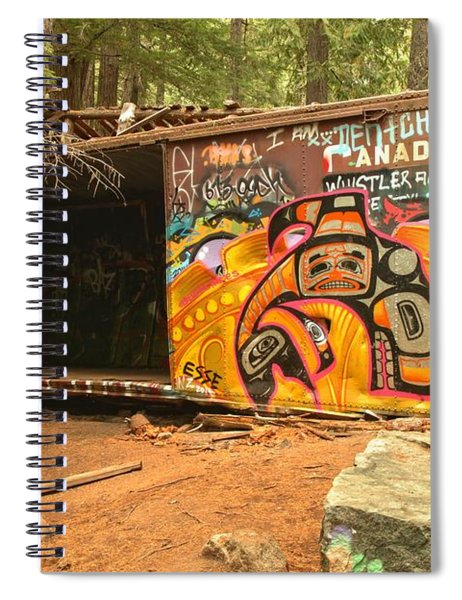Yellow Graffiti Covered Whistler Train Wreck Spiral Notebook