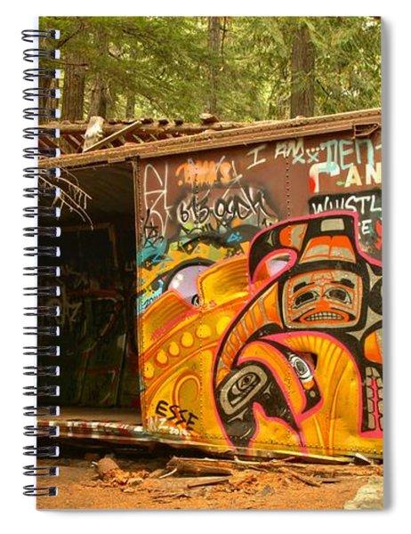 Yellow Graffiti On A Train Wreck Spiral Notebook