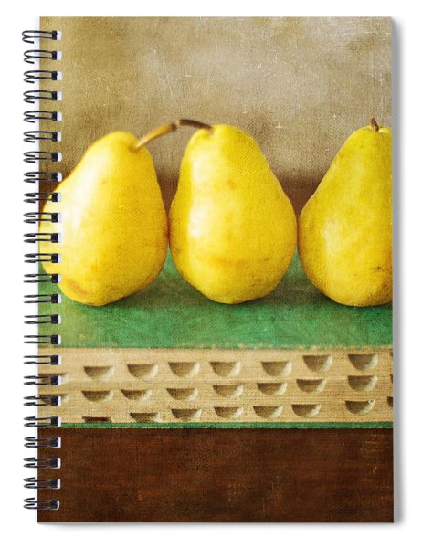 Yellow Pears And Vintage Green Book Still Life Spiral Notebook