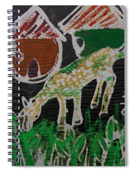 Yellow She Goat Eating Leaves Nearby Village. Spiral Notebook