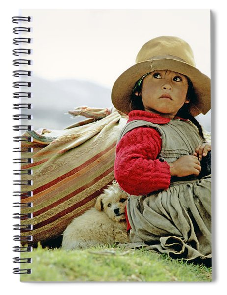 Young Girl In Peru Spiral Notebook