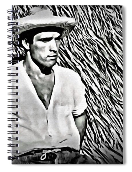 Young Man With Straw Hat Spiral Notebook