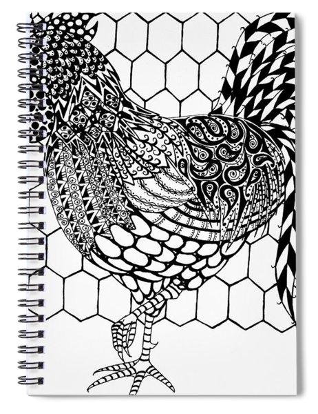 Zentangle Rooster Spiral Notebook