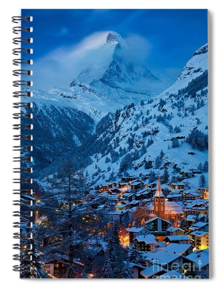 Spiral Notebook featuring the photograph Zermatt - Winter's Night by Brian Jannsen