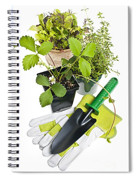 Gardening Tools And Plants Spiral Notebook