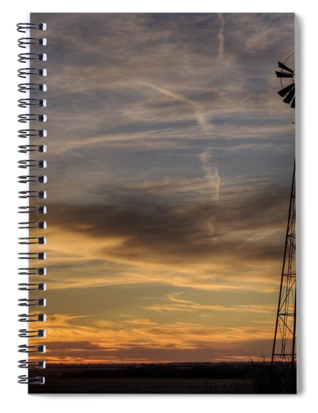Windmill And Sunset Spiral Notebook