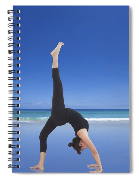 Woman Doing Yoga On The Beach Spiral Notebook