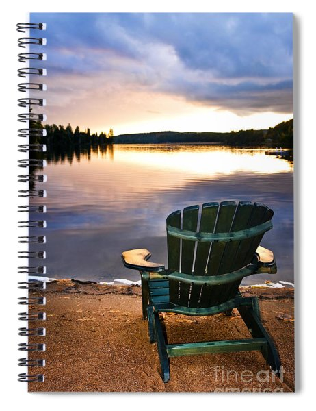 Wooden Chair At Sunset On Beach Spiral Notebook