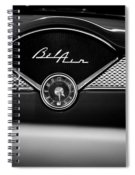 1955 Chevy Bel Air Glow Compartment In Black And White Spiral Notebook