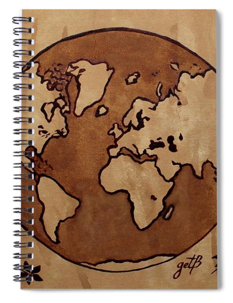 Abstract World Globe Map Coffee Painting Spiral Notebook