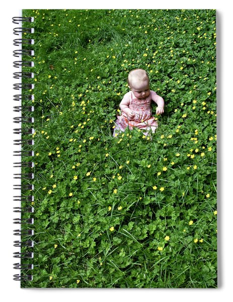 Spiral Notebook featuring the photograph Baby In A Field Of Flowers by Lorraine Devon Wilke