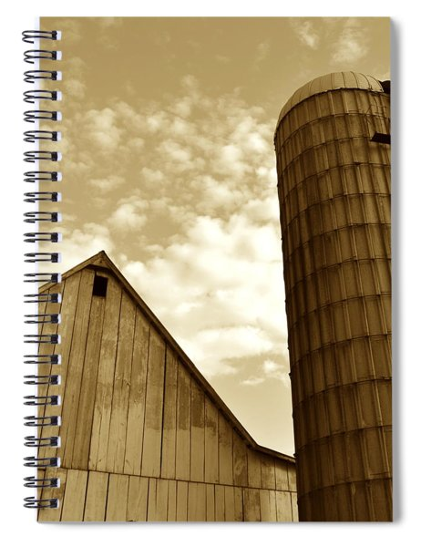 Barn And Silo In Sepia Spiral Notebook