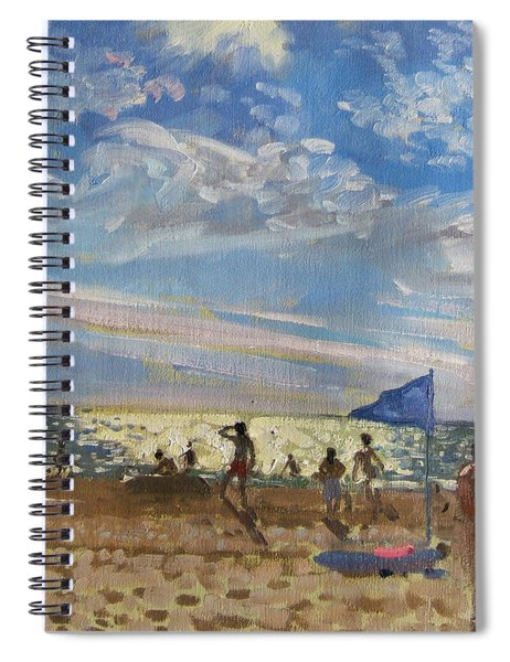 Blue Flag And Red Sun Shade Spiral Notebook