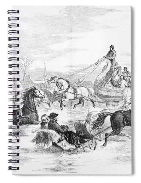 Boston: Sleighing, 1856 Spiral Notebook