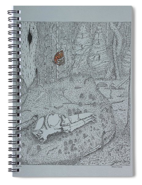 Canine Skull And Butterfly Spiral Notebook