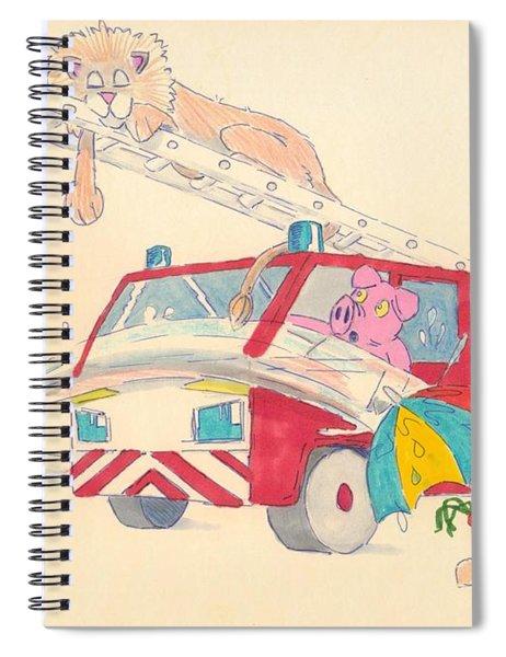 Cartoon Fire Engine And Animals Spiral Notebook