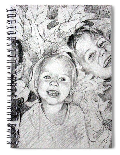Children Playing In The Fallen Leaves Spiral Notebook