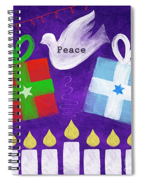 Christmas And Hanukkah Peace Spiral Notebook