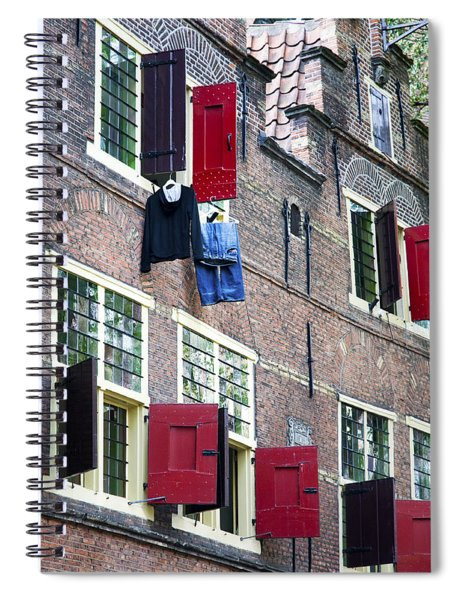 Clothes Hanging From A Window In Kattengat Spiral Notebook