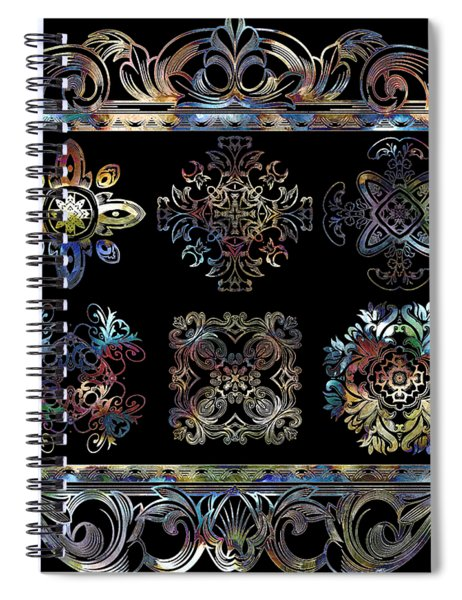 Coffee Flowers Ornate Medallions 6 Piece Collage Aurora Borealis Spiral Notebook
