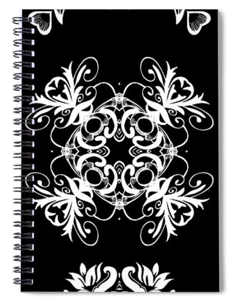 Coffee Flowers Ornate Medallions Bw Vertical Tryptych 2 Spiral Notebook