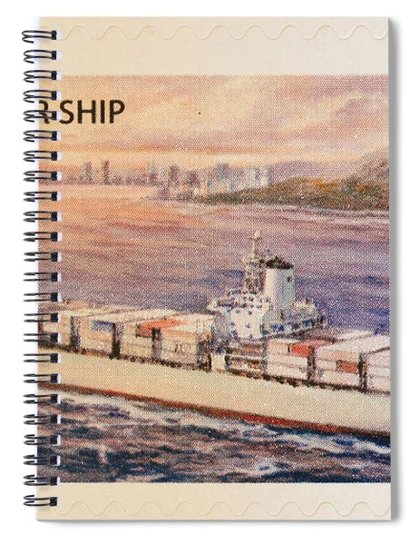Container Ship Stamp Spiral Notebook