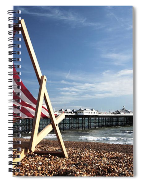 Deckchair On Brighton Beach Spiral Notebook