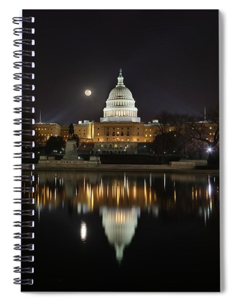 Digital Liquid - Full Moon At The Us Capitol Spiral Notebook