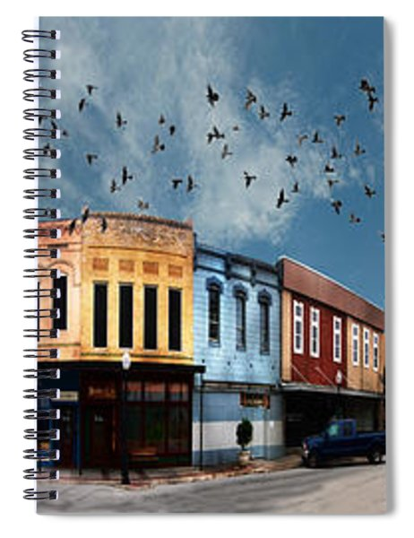 Downtown Bryan Texas 360 Panorama Spiral Notebook
