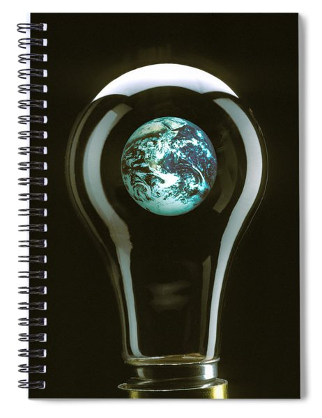 Earth In Light Bulb  Spiral Notebook