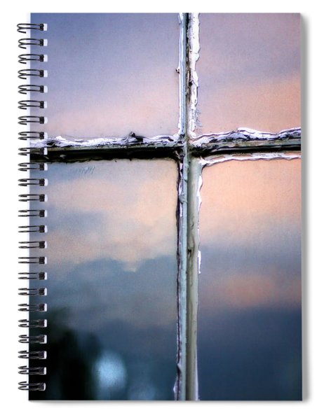 Empty Cross On The Window Of An Old Church Spiral Notebook